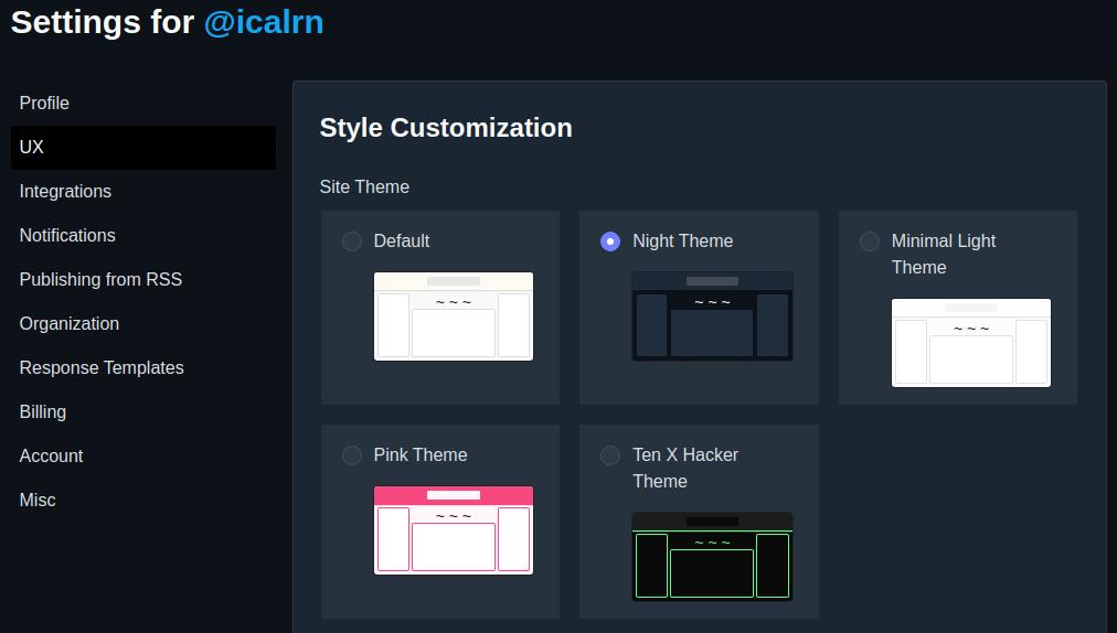 Pengaturan gaya tampilan pada Dev.to yang menyajikan beberapa pilihan warna