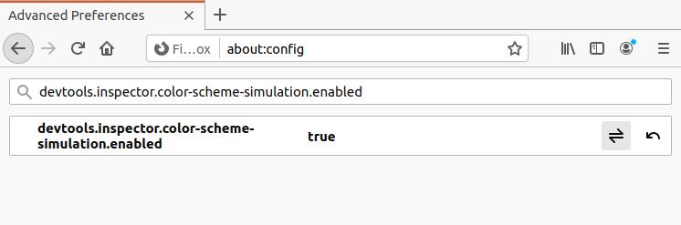 Konfigurasi untuk mengaktifkan pilihan emulasi Prefers Color Scheme pada Firefox