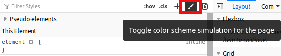 Tombol untuk emulasi nilai Prefers Color Scheme pada Firefox