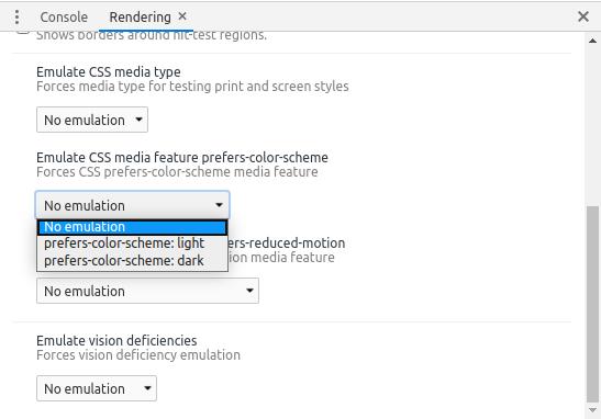 Pilihan dropdown emulasi Prefers Color Scheme pada Google Chrome